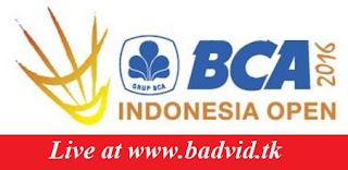 BCA Indonesia Open 2016 live streaming and videos
