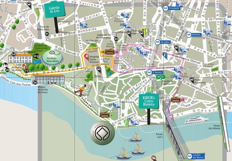 mapa porto portugal Mapa turístico do Porto | Dicas de Lisboa e Portugal mapa porto portugal