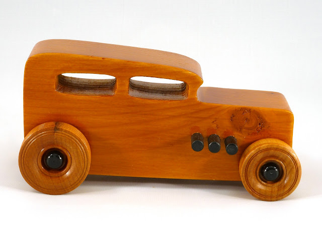 Right Side - Wooden Toy Car - Hot Rod Freaky Ford - 32 Sedan - Pine - Amber Shellac - Black Pipes - Black Hubs