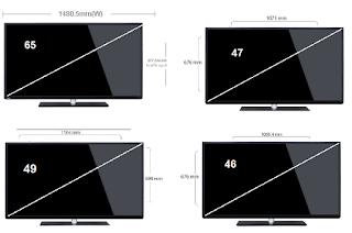 مقاس شاشة -46-47-49-65 بوصة بالسنتيمتر-ابعاد-سمك-طول-عرض- led و lcd