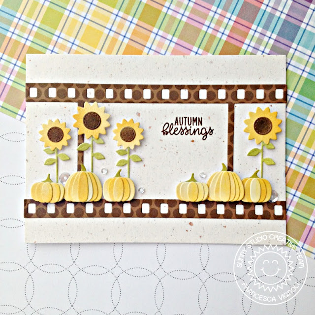 Sunny Studio Stamps: Fall Flicks Filmstrips Happy Harvest Sunflower Autumn Blessings Card by Franci Vignoli