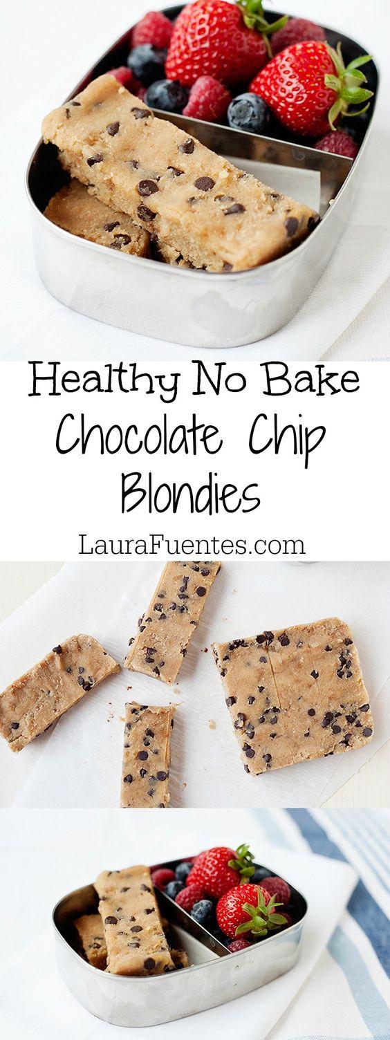 NO BAKE HEALTHY CHOCOLATE CHIP BLONDIES #nobake #chocolate #chip #chocolatechip #blondies #healthysnack #healthyfood #healthyrecipes #snackrecipes