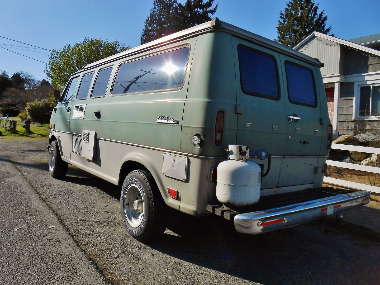 medium resolution of in 1969 dodge and chevy both still had cab over engine vans this luxury club wagon has been converted into a camper and looks great in white and green