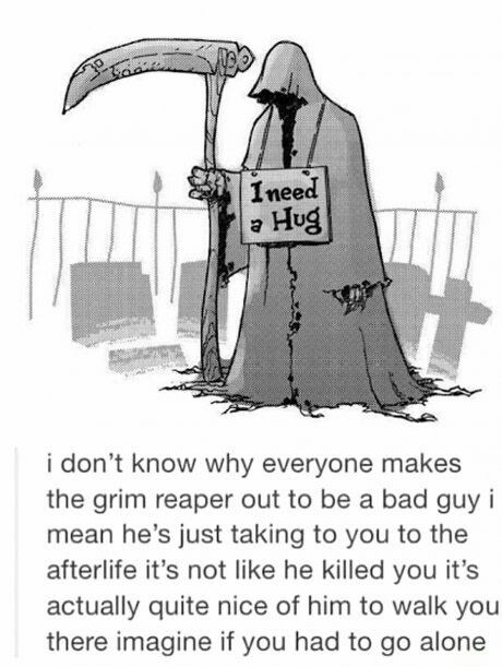 Funny Grim Reaper I Need A Hug Joke Picture
