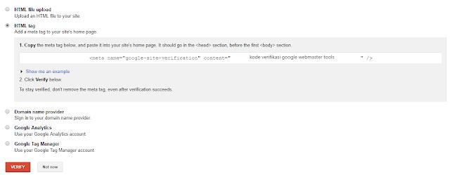 menggunakan webmaster tools