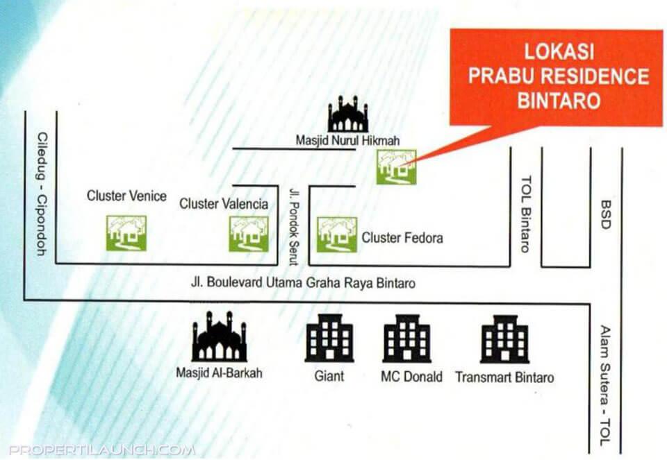 Peta Lokasi Townhouse Prabu Residence Bintaro