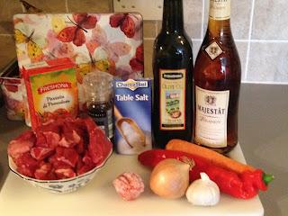Estofado de ternera, ingredientes