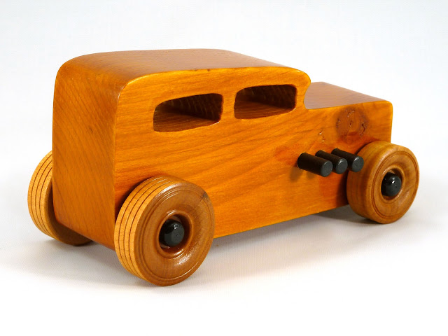 Right Rear - Wooden Toy Car - Hot Rod Freaky Ford - 32 Sedan - Pine - Amber Shellac - Black Pipes - Black Hubs