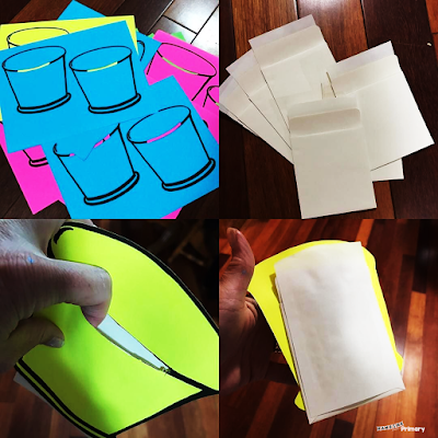 Assemble colourful buckets by using a library pocket on the back side as the inside of the bucket.