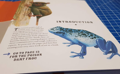 inside page showing poison dart frog