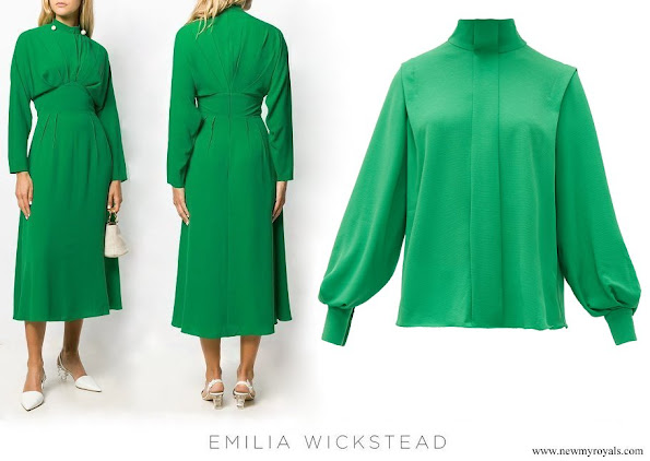 Kate Middleton wore EMILIA WICKSTEAD pleated midi dress