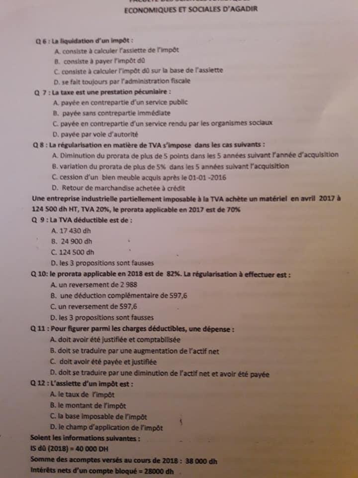 examen fiscalit u00e9 professeur messaoudi