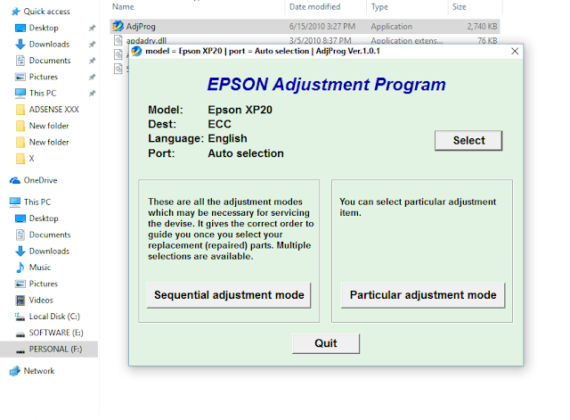 Epson Expression Home XP-20 Adjustment Program