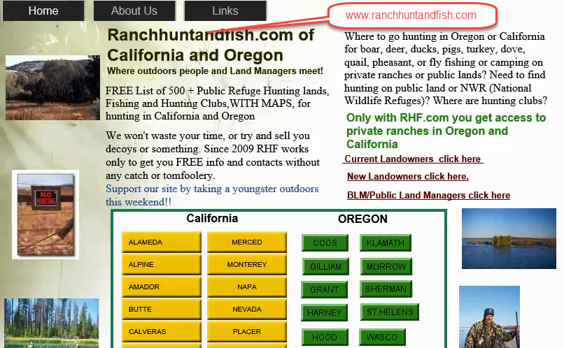 Oregon and California Hunting Clubs for Turkey, deer, pig, quail, fishing with Hunting Maps.