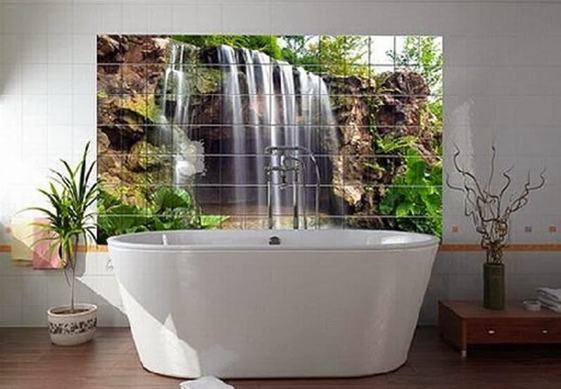 Nowoczesne łazienki : Prysznic pod wodospadem czy kąpiel w blasku słońca? Nadruk cyfrowy na ...