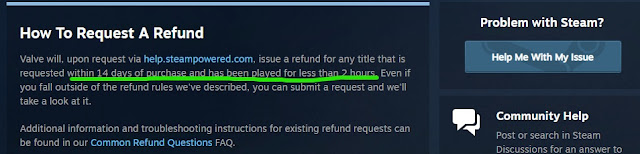 can you refund a steam game after 2 hours