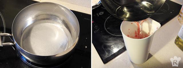 Receta de polos de fresa: Prepara el almíbar