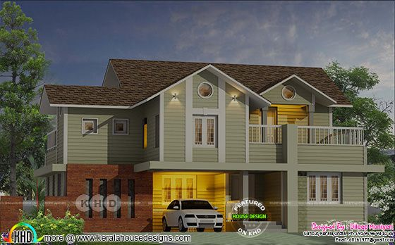 1581 square feet sloping roof style English model home