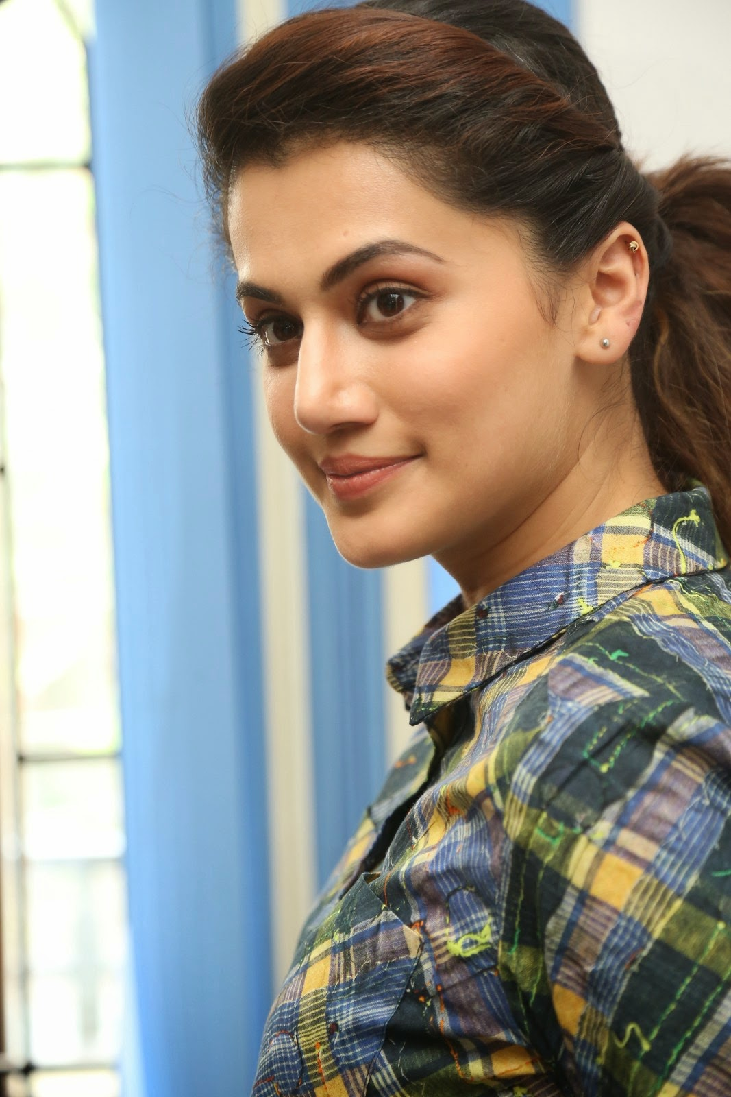 Tapsee Latest Hot Photoshoot In Green Shirt Dress