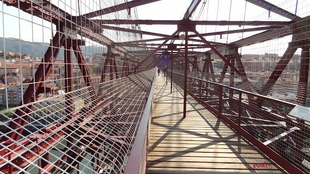 parte superior del puente colgante, la Arenas y Portugalete
