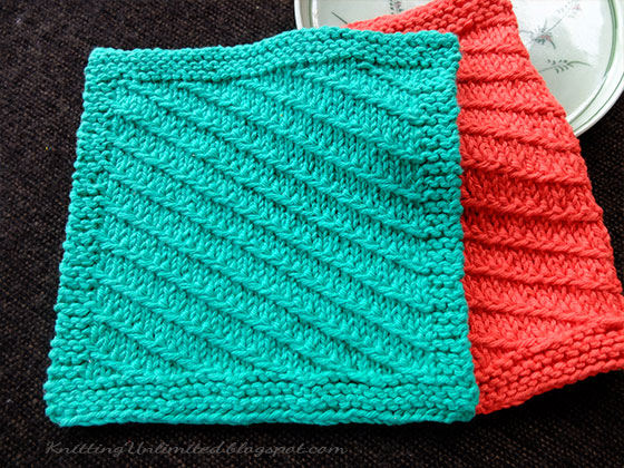 Diagonal Knitted Dishcloth Pattern #7 From KnittingUnlimited.blogspot.com
