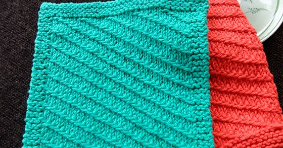 Knit Dishcloth Patterns Two Colors : Dishcloth #7: Diagonal Slip stitch - Knitting Unlimited