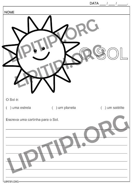 O Sol Atividade Fundamental I Produção Textual