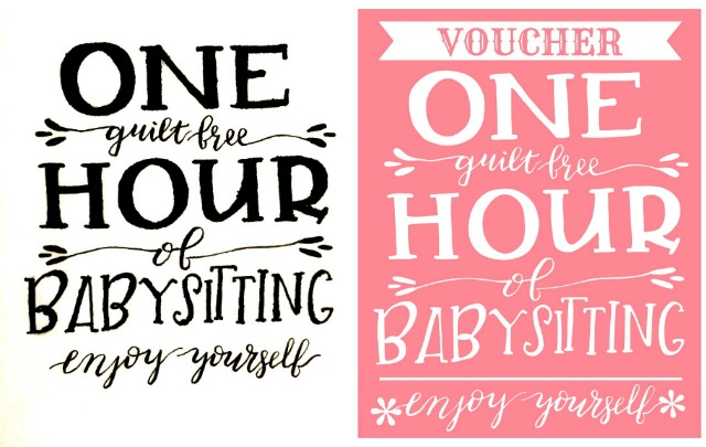 GIFT IDEA: Babysitting Voucher Free Printable