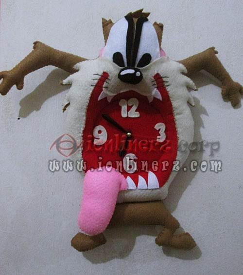 Jam Dinding Flanel Karakter Kartun Boneka Tazmania Devil