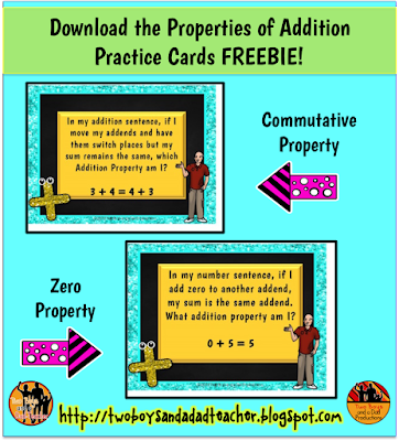 Properties of Addition Practice Cards FREEBIE