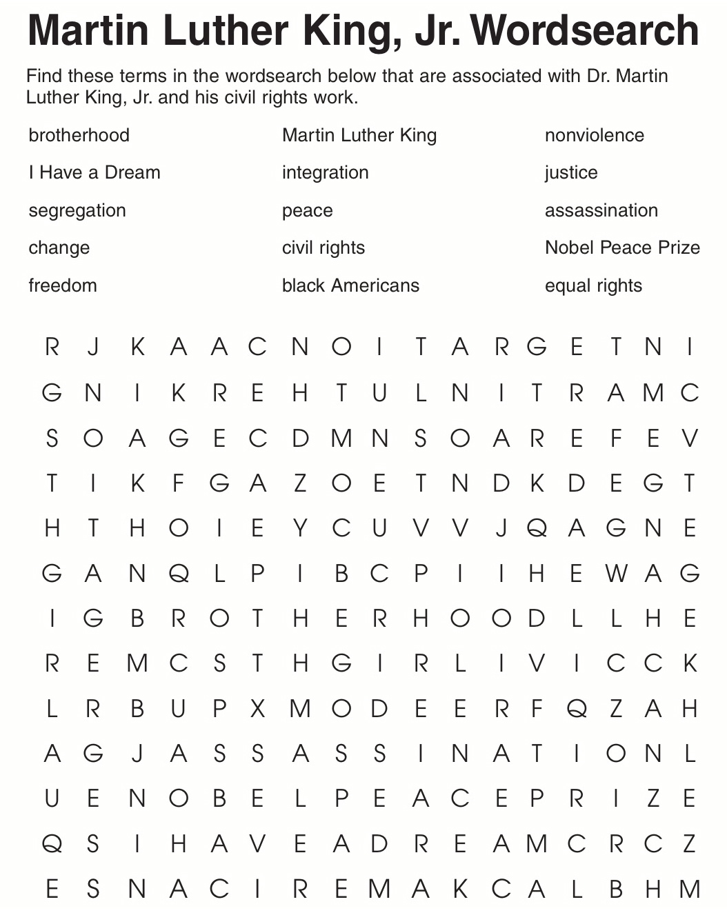 Challenger Black History Month Quiz Printable