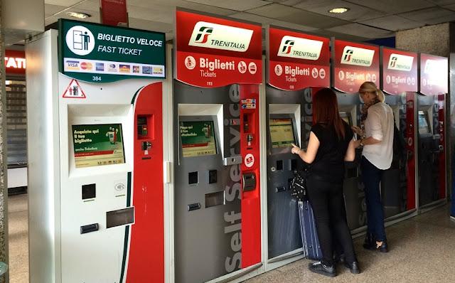 Compra de bilhetes de trem em Roma e na Itália