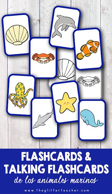 Vídeo de talking flash cards y tarjetas de vocabulario imprimibles de los animales del océano en inglés para educación infantil y educación primaria.