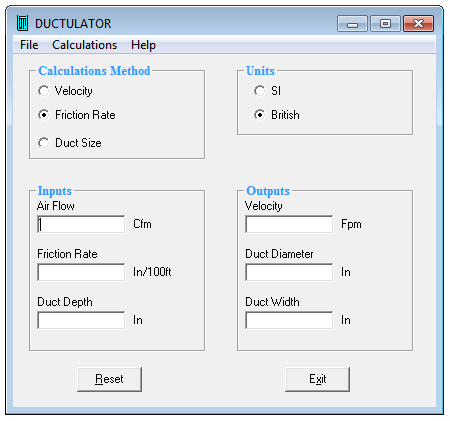 Download Ductulator software for air duct sizing, HVAC Ductulator program for free
