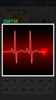 на экране ритм сердца красным цветом