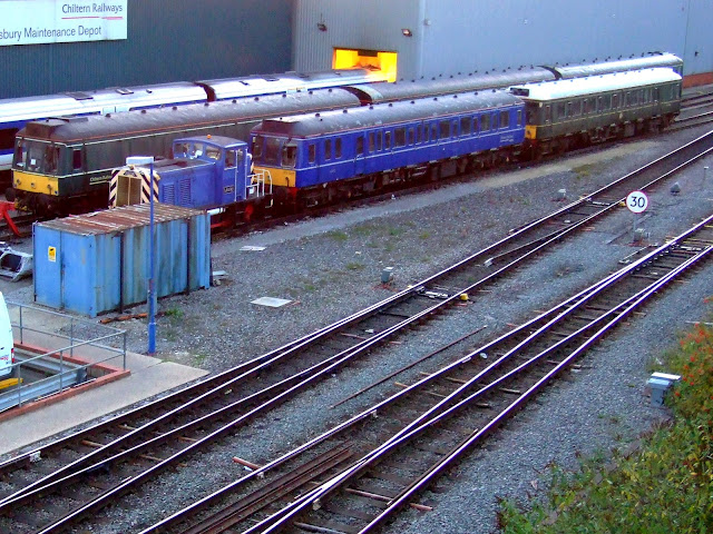 Photo of a collection of older generation Chiltern Railways bubble car diesel multiple units on sidings at Aylesbury depot