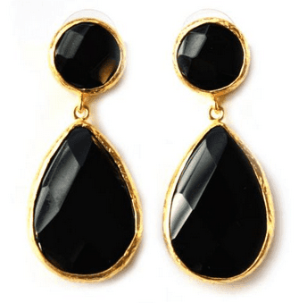 Black Onyx Gemstone drop Earrings Bottica