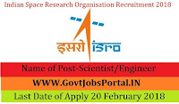 Indian Space Research Organisation Recruitment 2018- 106 Scientist/Engineer