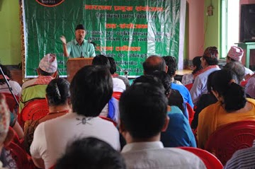 Dr. HB Chettri at the Indo-Nepal poets' meet in Kalimpong on Saturday.