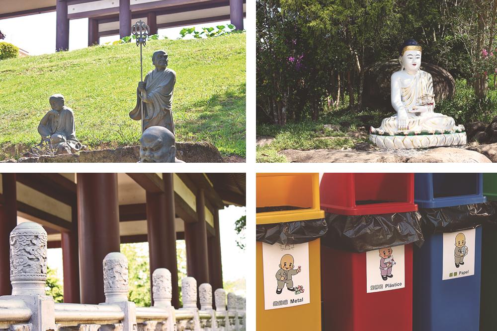 colagem detalhes templo budista zu lai