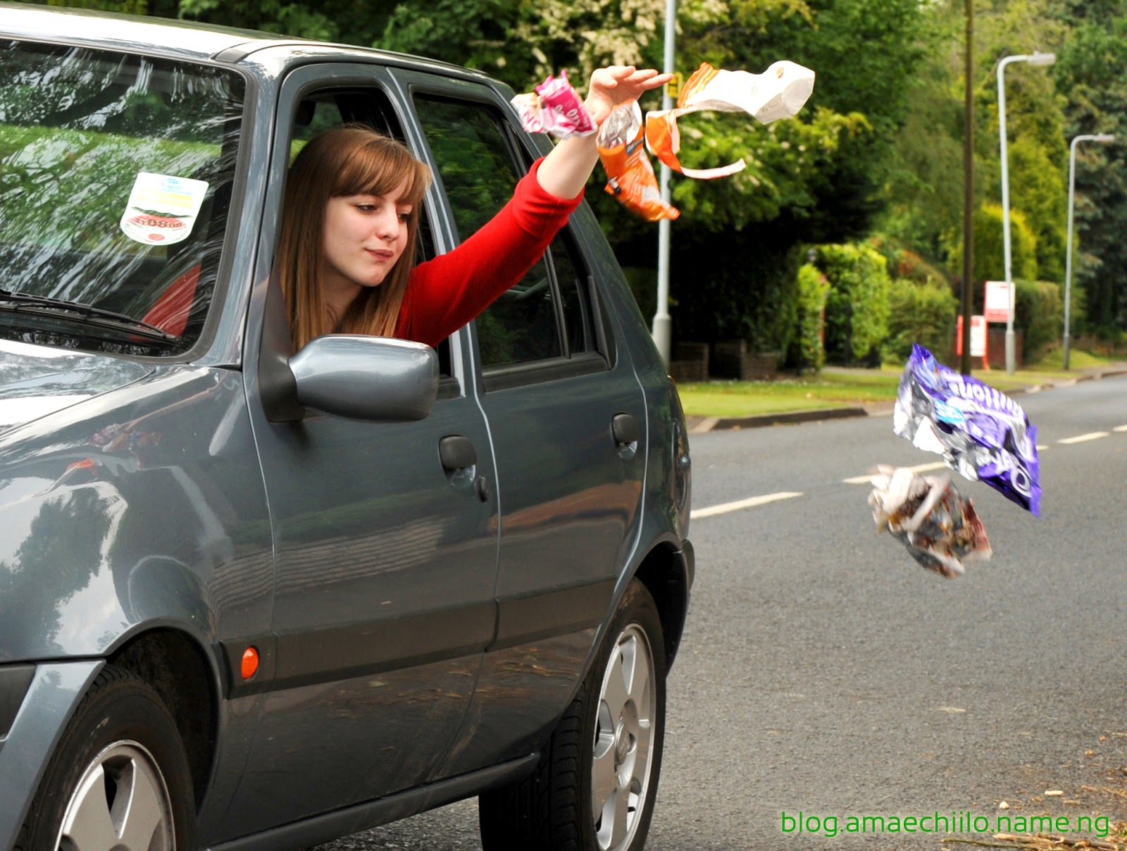 Image result for tossing lunchsack out car window