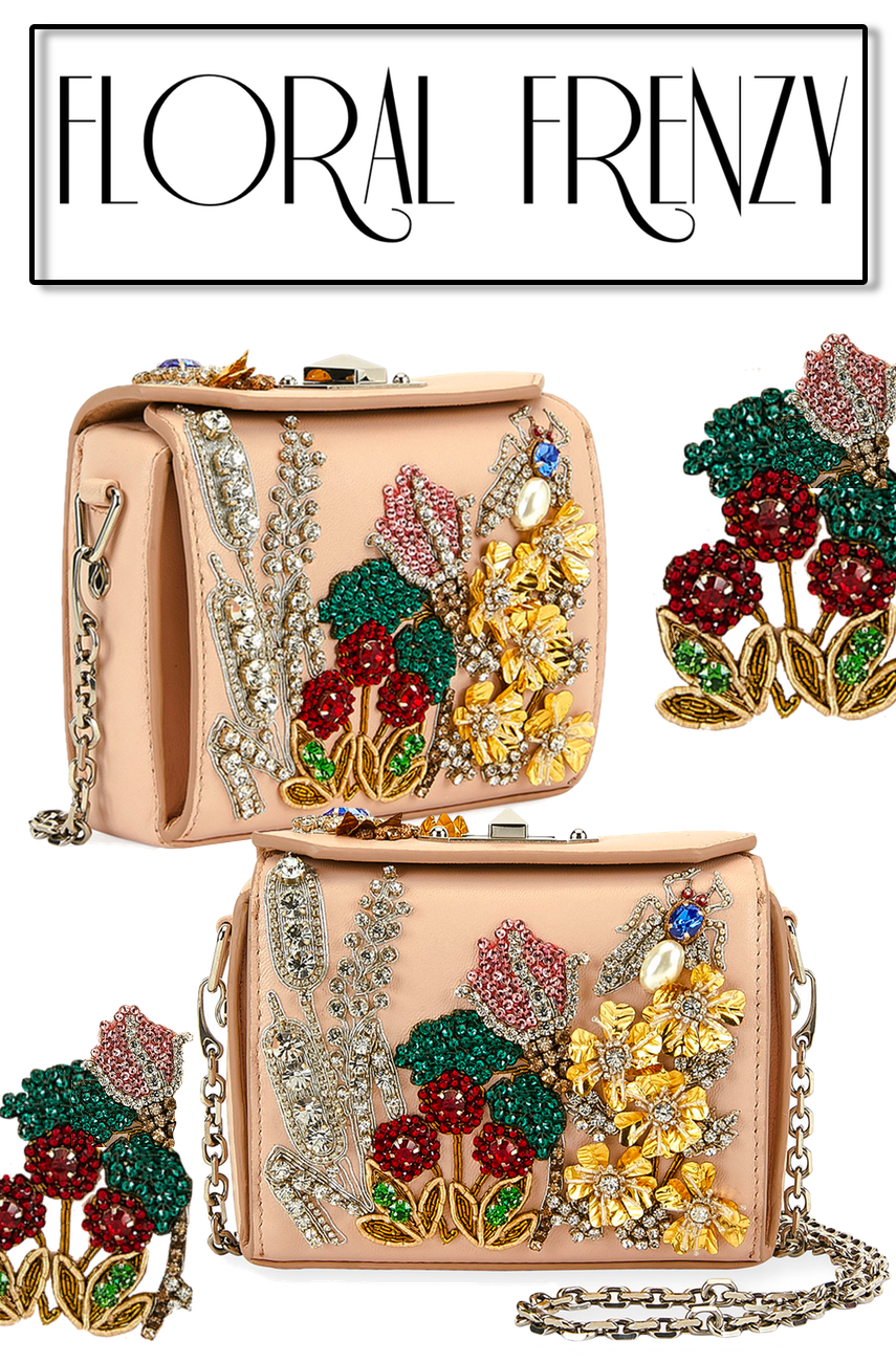 Alexander McQueen Nano Box Embroidered Leather Crossbody Bag