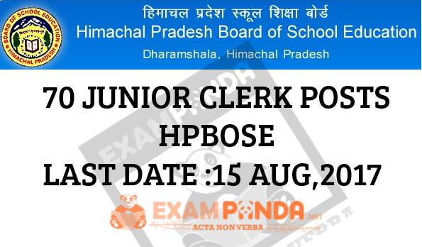 70 Junior Clerk Vacancies at HPBose.org