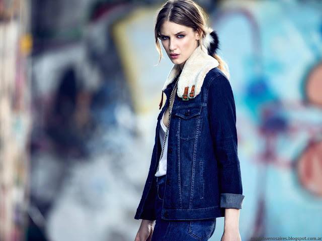 Camperas de jeans con cuello de corderito de moda este invierno 2016 Kosiuko.