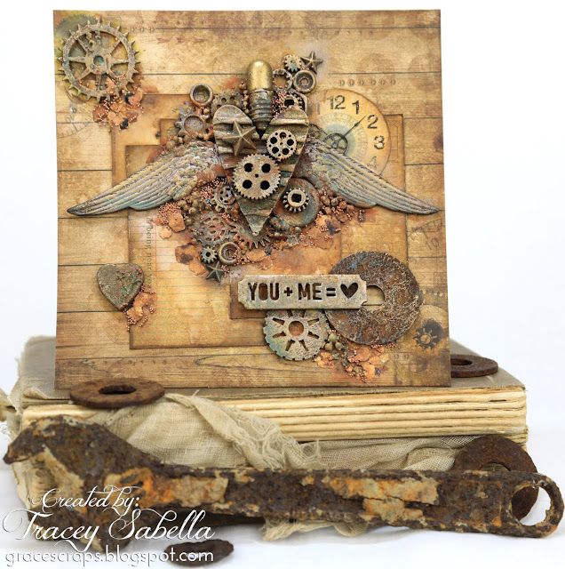 Steampunk Mixed Media Valentine Card by Tracey Sabella for ScrapBerry's. Also using Prima Finnabair: Waxes; Rust & Patina Paste; Mechanicals; Art Basics Gesso and Gels.  http://bit.ly/2DR4PYt