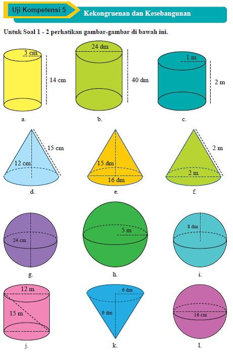 Soal Bab V Bangun Ruang Sisi Lengkung Matematika Smp Kelas Ix Kurikulum 2013 Semester 1 Raja