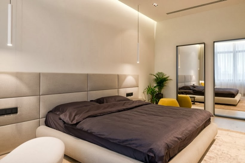 Modern bed in Minimalist modern apartment in Moscow