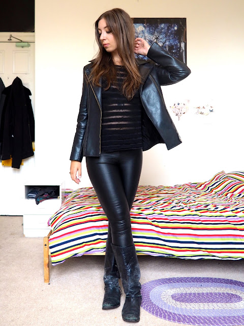 Black Widow Disneybound cosplay outfit of black sheer striped top, leather jacket, leather effect leggings & tall black leather boots
