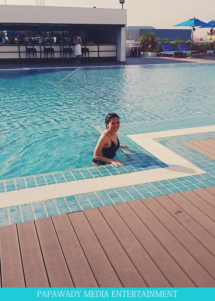 Aye Myat Thu Swimming At Hotel Pool in Nga Pa Li Beach