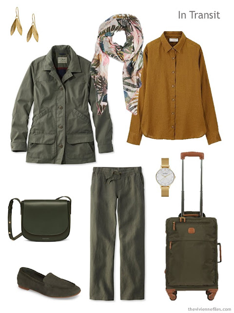 travel outfit in olive with gold accents